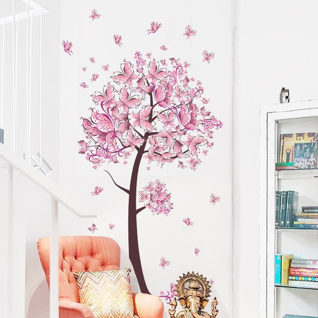 -3D-ПВХ-diy-Розовые-цветы-бабочки-на-дереве-стены-наклейки-home-decor-для-гостиной-спальня.jpg_640x640