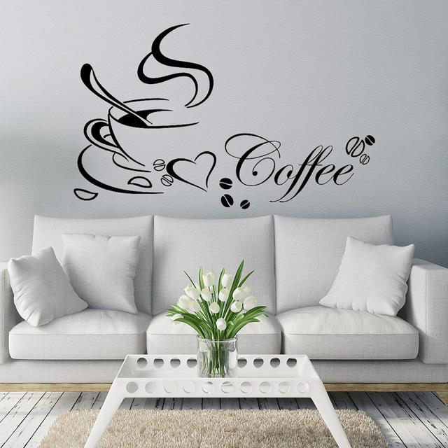 Большие наклейки на стену кухни «Чашки для кофе».