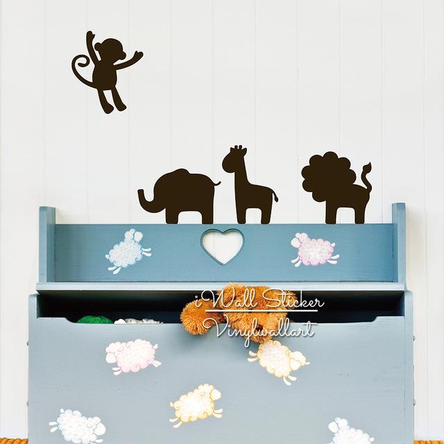 Друзья-животных-Стикер-Стены-Тигр-Слон-Жираф-Обезьяна-Стены-Стикеры-Животных-Стикер-Детская-Комната-Декор-Стены.jpg_640x640