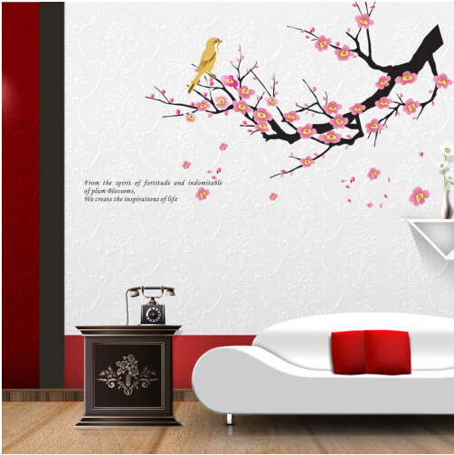 Декоративная наклейка «Цветущая ветка персикового дерева».