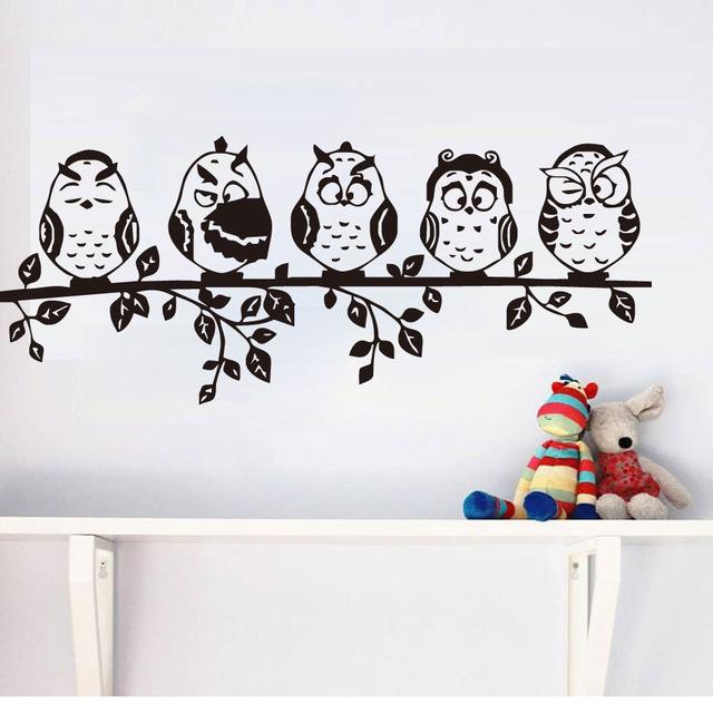 Декоративные наклейки на стену «Удивленные совы».