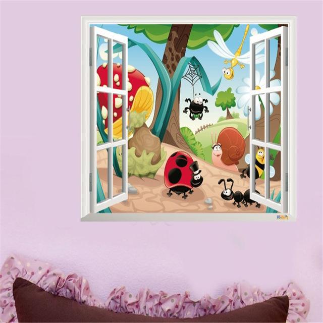 3d наклейка на стену для детской комнаты «Мир насекомых».